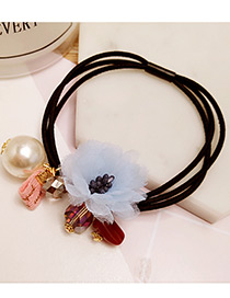 Elegant Blue Flower&pearl Decorated Multi-layer Hair Band