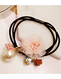 Elegant Light Pink Flower&pearl Decorated Multi-layer Hair Band
