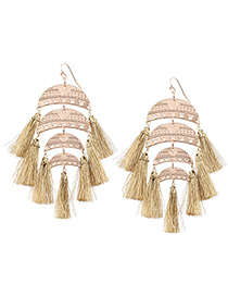 Bohemia Khaki Tassel Pendant Decorated Simple Short Chain Earrings