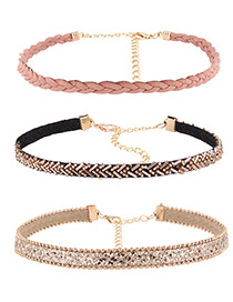 Fashion Multi-color Diamond Decorated Color Matching Simple Choker(3pcs)