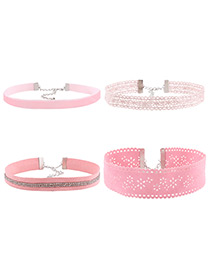 Fashion Pink Pure Color Decorated Hollow Out Design Choker (4pcs)