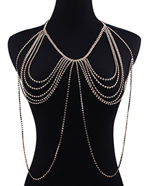 Fashion Gold Color Pure Color Decorated Multi-layer Simple Body Chain