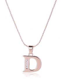 Fashion Gold Color Metal Letterd Shape Pendant Decorated Simple Long Chain Neckalce