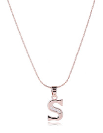 Fashion Gold Color Metal Letters Shape Pendant Decorated Simple Long Chain Neckalce
