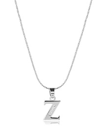Fashion Silver Color Metal Letterz Shape Pendant Decorated Simple Long Chain Neckalce