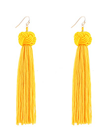 Fashion Yellow Pure Color Decorated Long Tassel Design Earrings