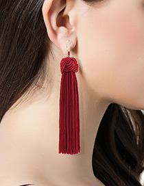 Fashion Red Pure Color Decorated Long Tassel Design Earrings