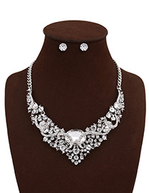 Fashion Silver Color Oval Shape Diamond Decorated Hollow Out Simple Jewelry Sets