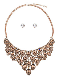 Fashion Champagne Round Shape Diamond Decorated Pure Color Jewelry Sets