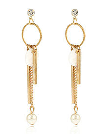Elegant White+gold Color Pearls&vertical Shape Pendant Decorated Simple Earrings