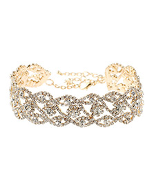 Fashion Gold Color Round Shape Diamond Decorated Hollow Out Simple Choker