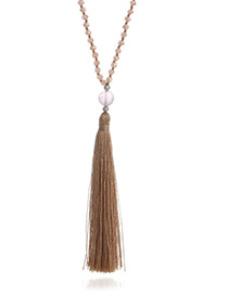 Fashion Coffee Long Tassel Pendant Decorated Pure Color Long Necklace