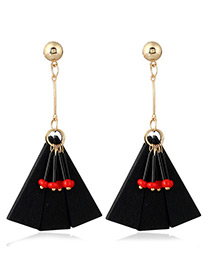 Fashion Black Geometric Shape Pendant Decorated Color Matching Earings