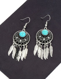 Fashion Silver Color Feather Pendant Decorated Hollow Out Simple Earrings
