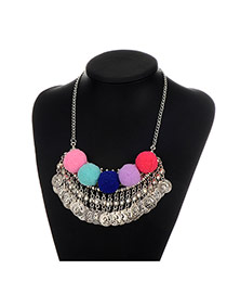 Exaggerate Multi-color Metal Round Shape &fuzzy Ball Decorated Simple Necklace