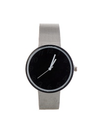 Fashion Black Color Matching Decorated Round Dail Simple Chain Watch