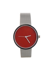 Fashion Red Color Matching Decorated Round Dail Simple Chain Watch