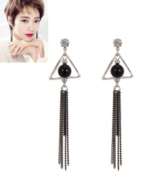 Fashion Silver Color Tassel Pendant Decorated Pure Color Simple Earrings