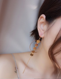 Fashion Gold Color Vertical Shape Pendant Decorated Pure Color Simple Earrings