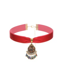 Vintage Red Short Chain Tassel Decorated Simple Choker