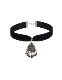 Vintage Black+silver Color Short Chain Tassel Decorated Simple Choker
