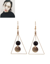 Fashion Black Round Ball Pendant Decorated Triangle Shape Earrings