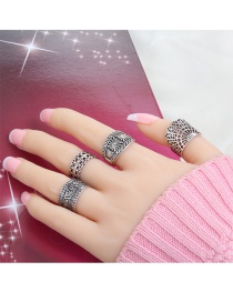Fashion Silver Color Flower Pattern Decorated Pure Color Hollow Out Ring (4pcs)