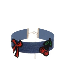 Fashion Multi-color Embroidery Strawberry Decorated Color Matching Choker