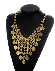Fashion Gold Color Coins Pendant Decorated Pure Color Flower Design Necklace
