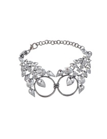 Luxury Silver Color Double Circle Decorated Simple Short Chain Bracelet