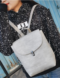 Fashion Light Gray Buckle Decorated Pure Color Simple Backpack
