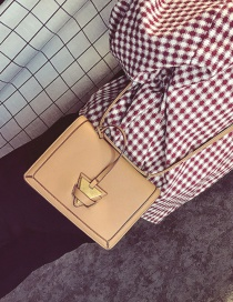 Fashion Yellow Triangle Shape Buckle Decorated Pure Color Shoulder Bag