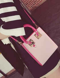Fashion Pink Color Matching Decorated Square Shape Shoulder Bag