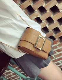 Fashion Yellow Square Shape Buckle Decorated Pure Color Shoulder Bag