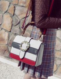 Fashion White Pearls Decorated Color Matching Shoulder Bag