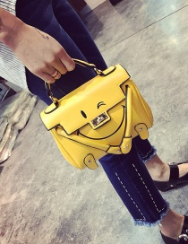 Fashion Yellow Smiling Face Pattern Decorated Pure Color Shoulder Bag