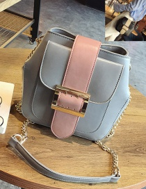 Fashion Light Gray Square Shape Buckle Decorated Color Matching Shoulder Bag