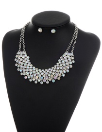 Fashion Silver Color Round Shape Diamond Decorated Simple Double Layer Jewelry Sets