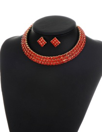 Elegant Red Square Shape Diamond Decorated Simple Jewelry Sets