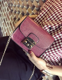 Fashion Claret Red Pure Color Decorated Texture Shape Shoulder Bag