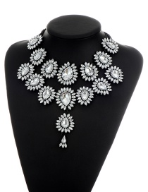 Elegant White Waterdrop Shape Diamond Decorated Simple Double Layer Necklace