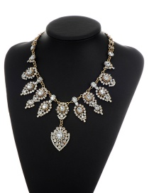 Elegant Gold Color Waterdrop Shape Diamond Decorated Simple Necklace