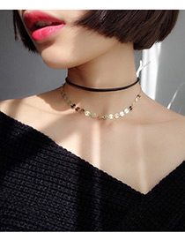 Fashion Gold Color Sequins Decorated Double Layer Simple Choker