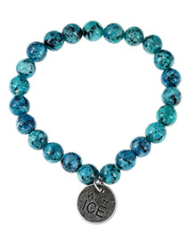Fashion Blue Coin Pendant Decorated Pure Color Simple Bracelet