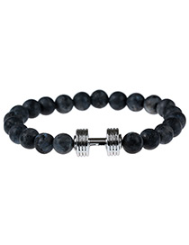 Fashion Black+silver Color Dumb-bell Decorated Color Matching Simple Bracelet