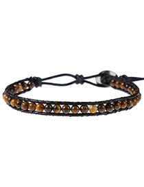 Elegant Brown Color Matching Decorated Multi-layer Simple Beads Bracelet