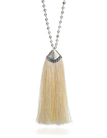 Fashion White Long Tassel Pendant Decorated Pure Color Long Necklace