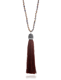 Elegant Coffee Long Tassel Pendant Decorated Pure Color Long Necklace