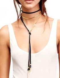 Vintage Gold Color Long Chain Decorated Simple Multilayer Choker