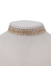 Fashion Gold Color Round Shape Diamond Decorated Simple Short Chain Choker
